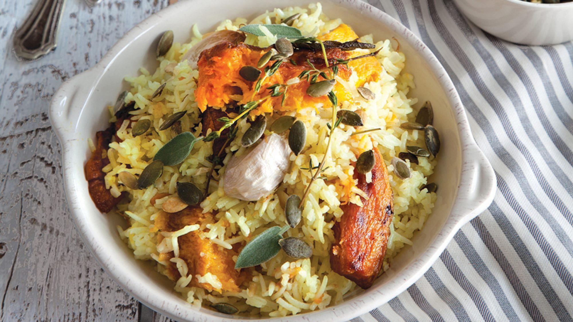 אורז עם ירקות כתומים. צילום: דן לב   סגנון: אוריה גבע