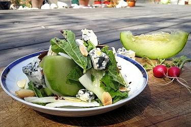סלט חוביזה, פירות וגבינת בלו ד'אוורן . צילום: ארז גולקו