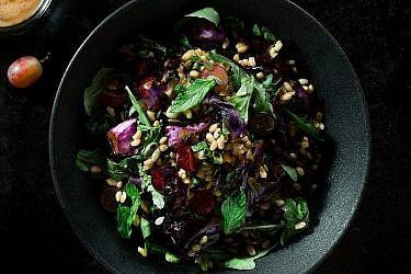 סלט חיטה, כרוב סגול צלוי וענבים של שף אודי ברקן. צילום: אסף קרלה. סטיילינג: דלית רוסו