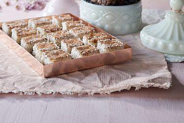 ריבועי קוקוס-שוקולד של מיכל מנדלסון. צילום: דניאל לילה. סגנון: דלית רוסו