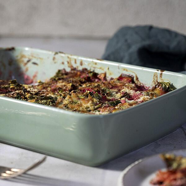 לזניית ירקות שורש ללא גלוטן של אליסיה קרמנב. צילום: דן לב | סגנון: דיאנה לינדר