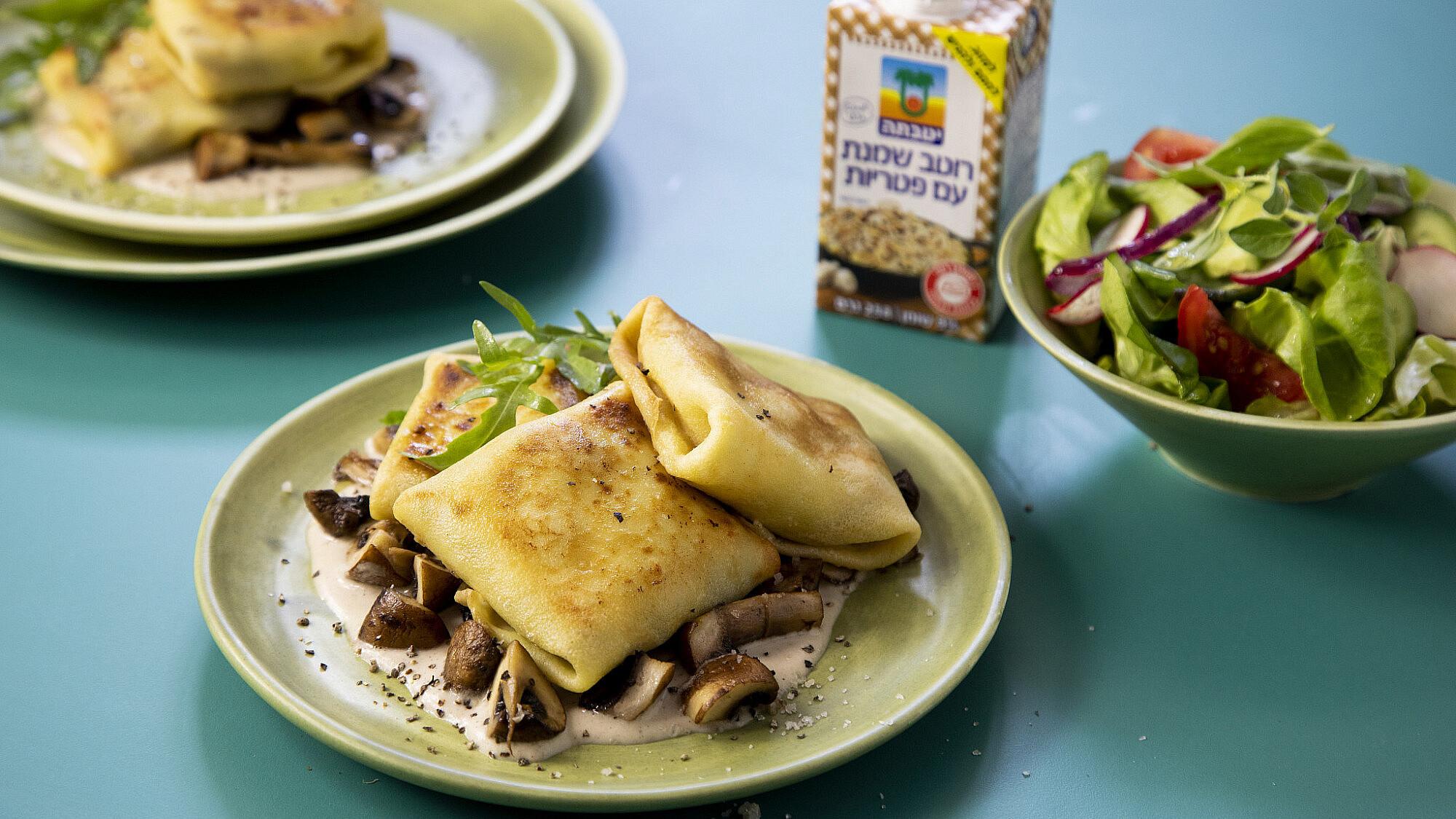 בלינצ׳ס שמנת פטריות שף: יוגב ירוס צילום: דן לב, סטיילינג: גיא כהן