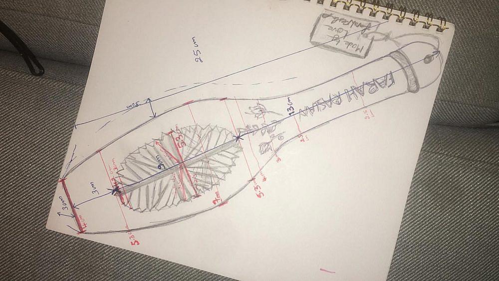 אביזר מורשת סקיצה לתבנית המעמול של פרח רסלאן. צילום: פרח רסלאן
