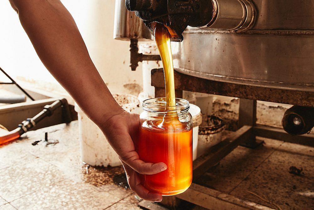 הדבש נארז באופן ידני, ללא חימום מכוורת מכמנים. צילום: מתן כץ