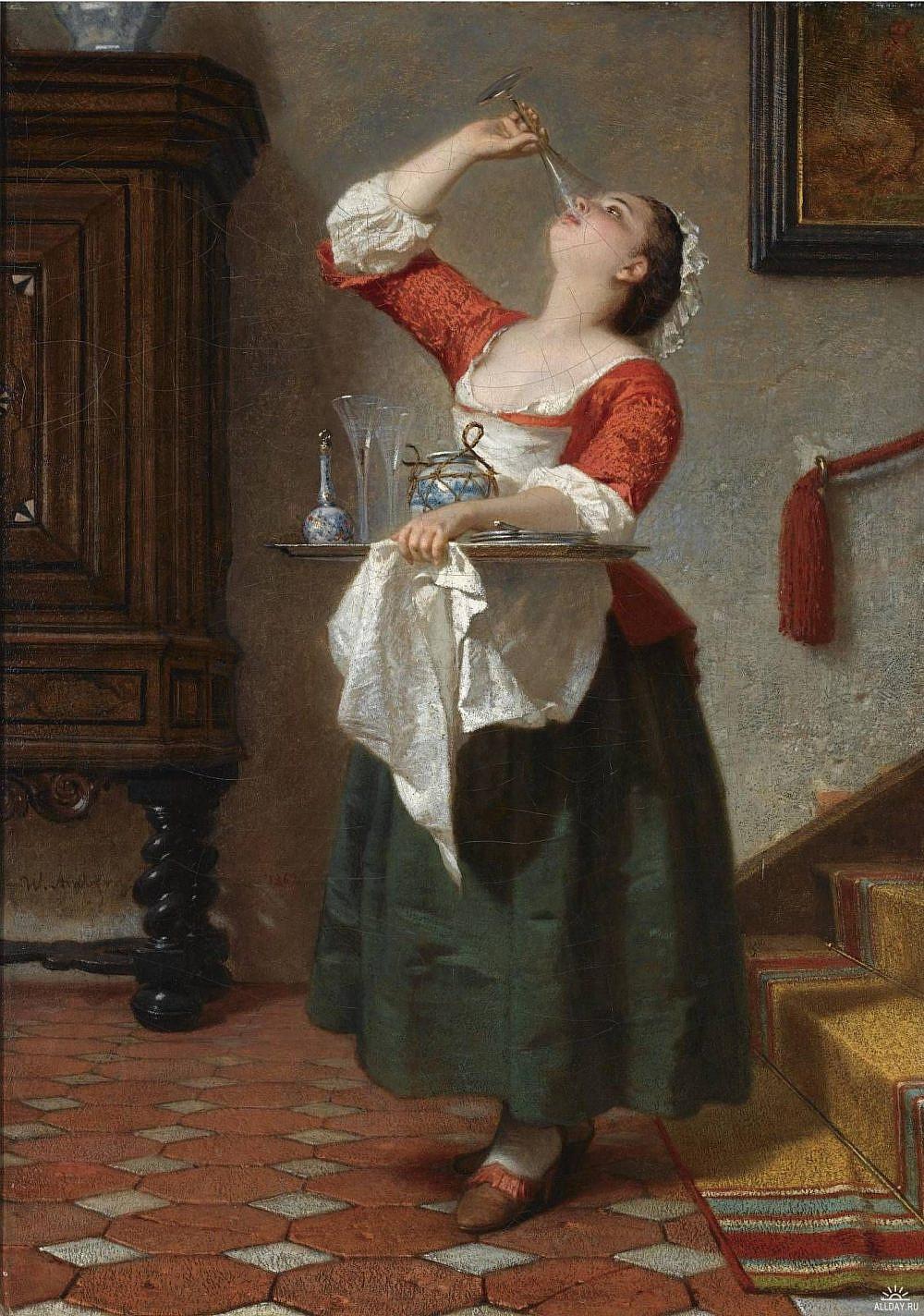 סינר יוקרתי הקרין על יוקרתה של השמלה The Maid , Wilhelm August Lebrecht Amberg, 1862