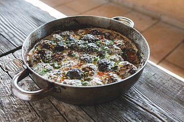 עלי חוביזה ממולאים בבשר טלה ואורז של שף יוסי הייב | צילום: שני בריל